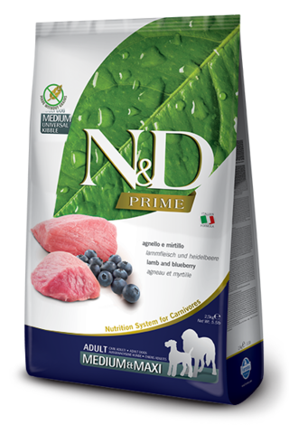 Сухой беззерновой корм Farmina N&D PRIME LAMB & BLUEBERRY ADULT MEDIUM & MAXI для взрослых собак средних и крупных пород
