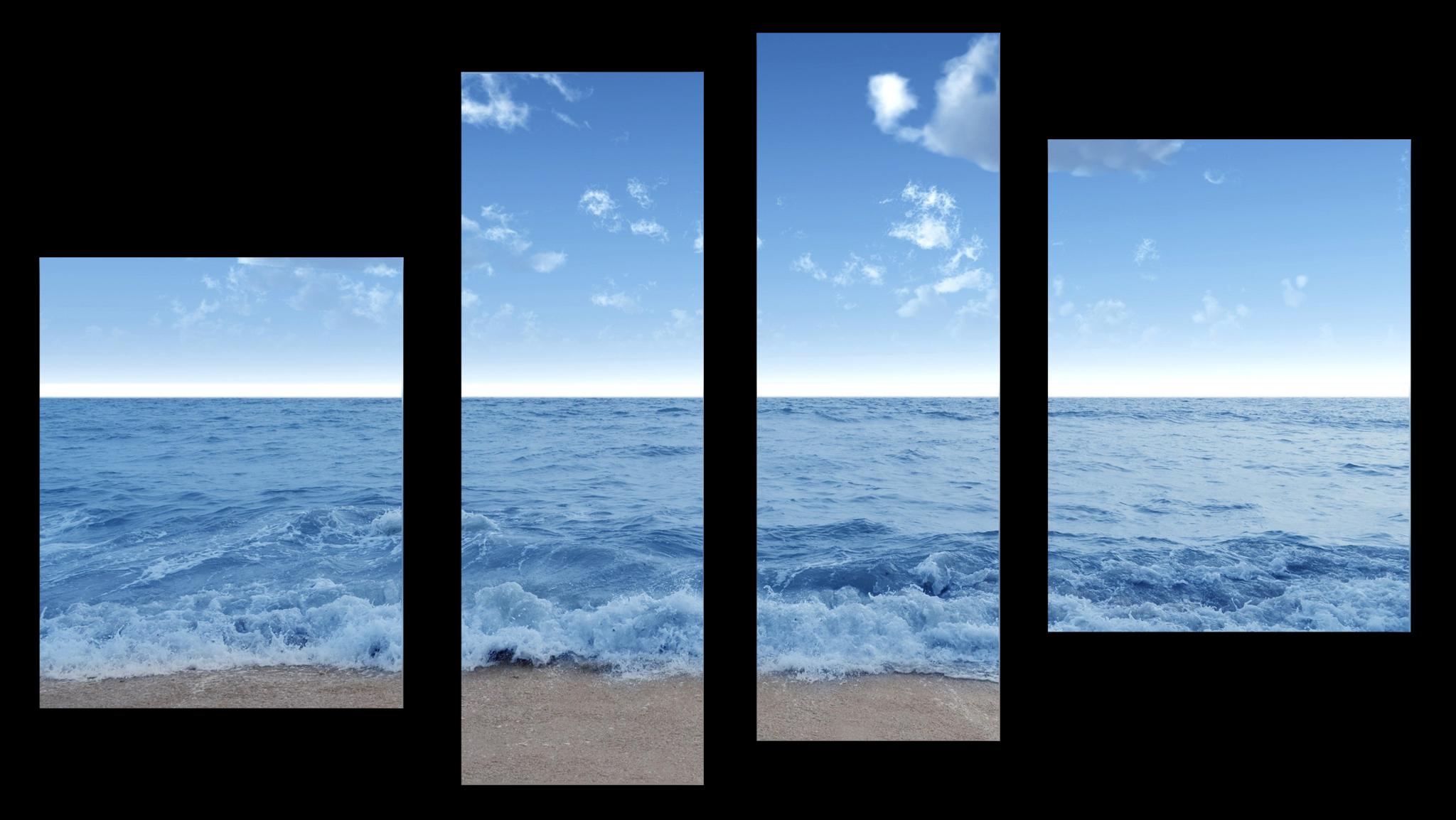 """Природа Модульная картина """"Морские волны"""" М1034_M_загибы_90х56.png"""