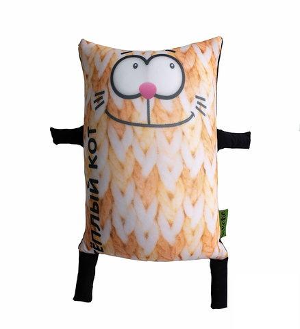 Подушка-игрушка антистресс «Теплый кот», оранжевый