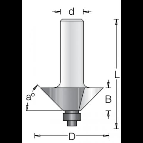 Фреза для снятия фаски с нижним подшипником 45 градусов DIMAR