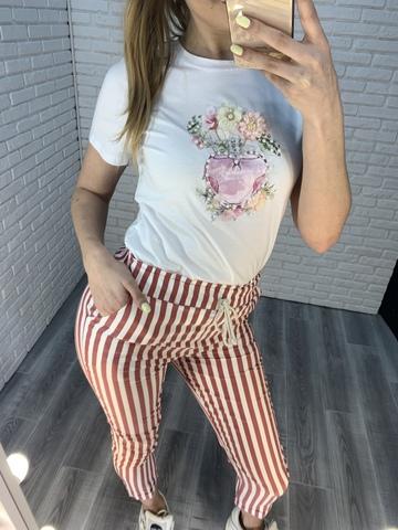 розовые брюки в полоску nadya