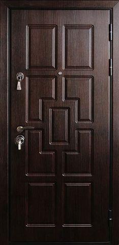Дверь входная Стальная линия Новосел 4 стальная, венге светлый, 2 замка