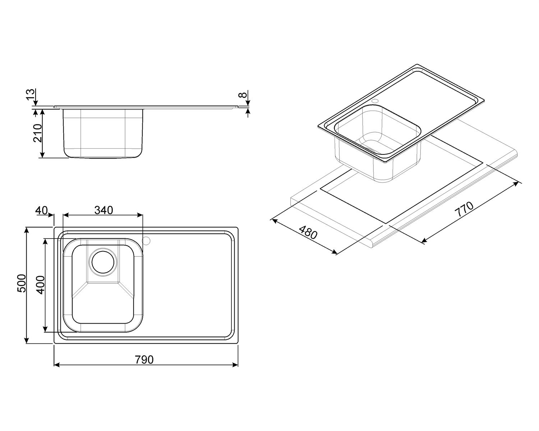 мойка для кухни картинки с размерами