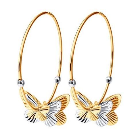 020693 Серьги-конго из золота с подвесками бабочками Ø40 мм