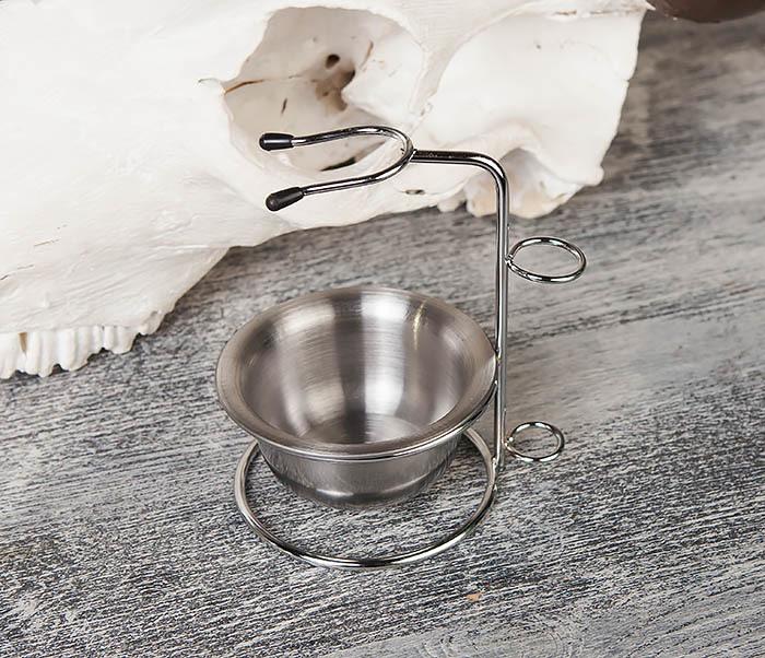 RAZ328 Стальная чаша для бритья в подставкой для бритвы и помазка фото 03