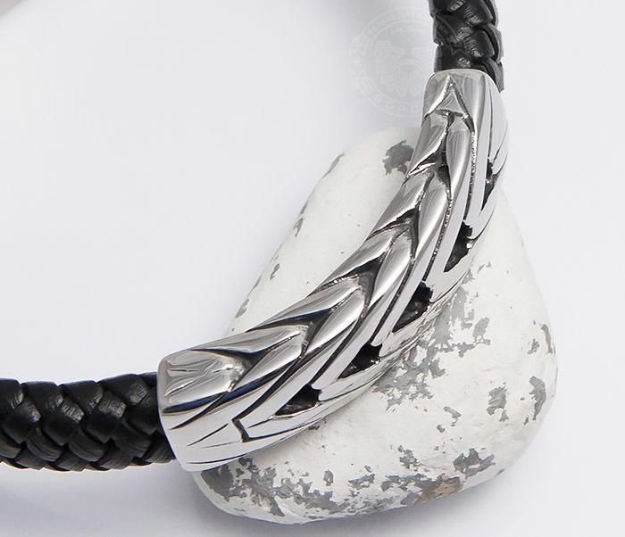 BM480 Крупный мужской браслет из плетеной кожи и стали (21 см) фото 06