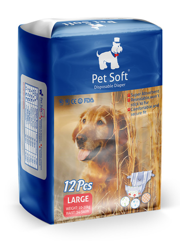 Pet Soft одноразовые впитывающие подгузники для животных (размер L) 12 штук