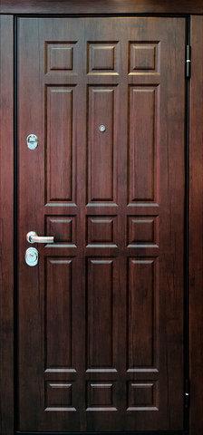Дверь входная Стальная линия Новосел 3 стальная, тиковое дерево, 2 замка