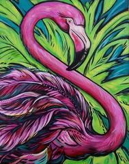 Розовый фламинго - Картина со стразами