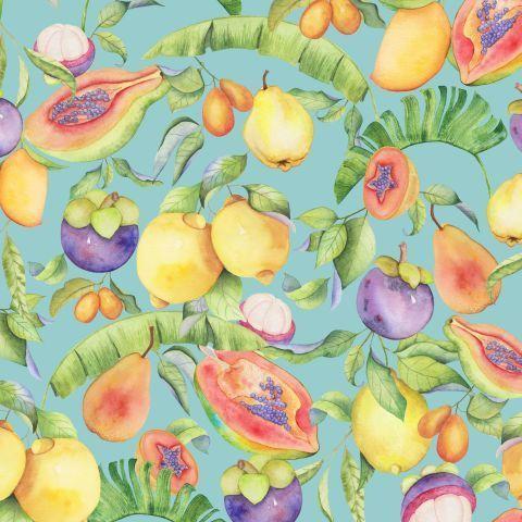 Акварельные экзотические фрукты на бирюзовом