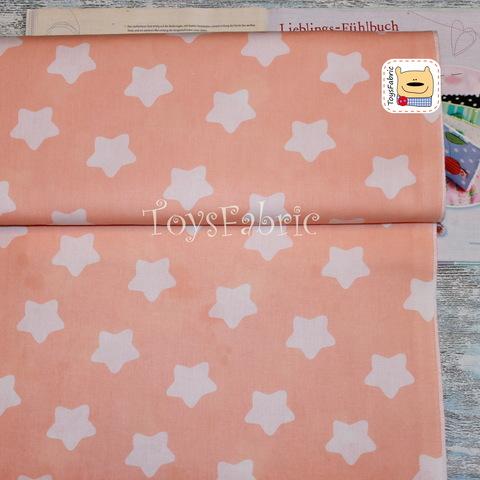 Ткань бязь Д83 Округлые звезды на персиковом (75х50см)