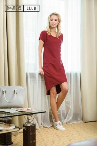 Бордовое Платье Nic Club Grafico 1702