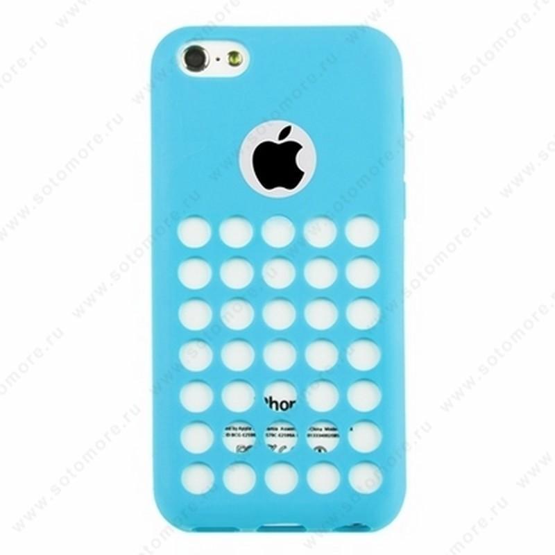 Накладка силиконовый TPU для Apple iPhone 5C с перфорацией голубой
