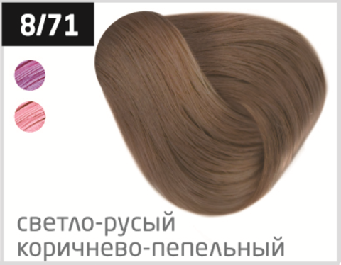 OLLIN N-JOY  8/71 – светло-русый коричнево-пепельный, перманентная крем-краска для волос 100мл