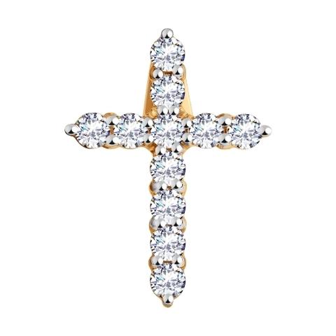 035833 - Подвеска из золота Крестик в стиле Тиффани