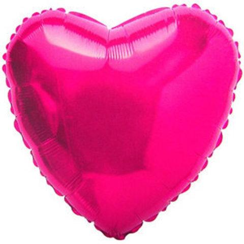 Воздушный шар сердце большое, Фуксия, 81 см