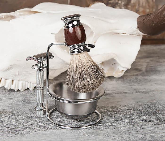 RAZ328 Стальная чаша для бритья в подставкой для бритвы и помазка фото 07