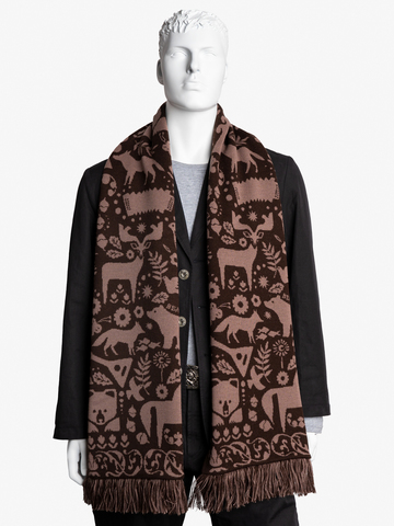 Taiga Trails - brown tones  No. 4.2 (Fringed Scarf)
