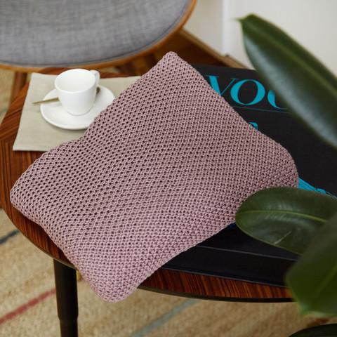 Плед вязанный детский хлопок/акрил 80*90 см Бледный красно-пурпурный