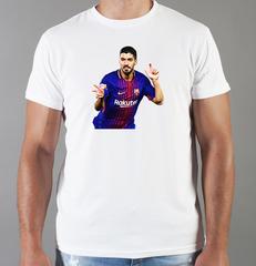 Футболка с принтом Луис Суарес (Luis Suárez) белая 004