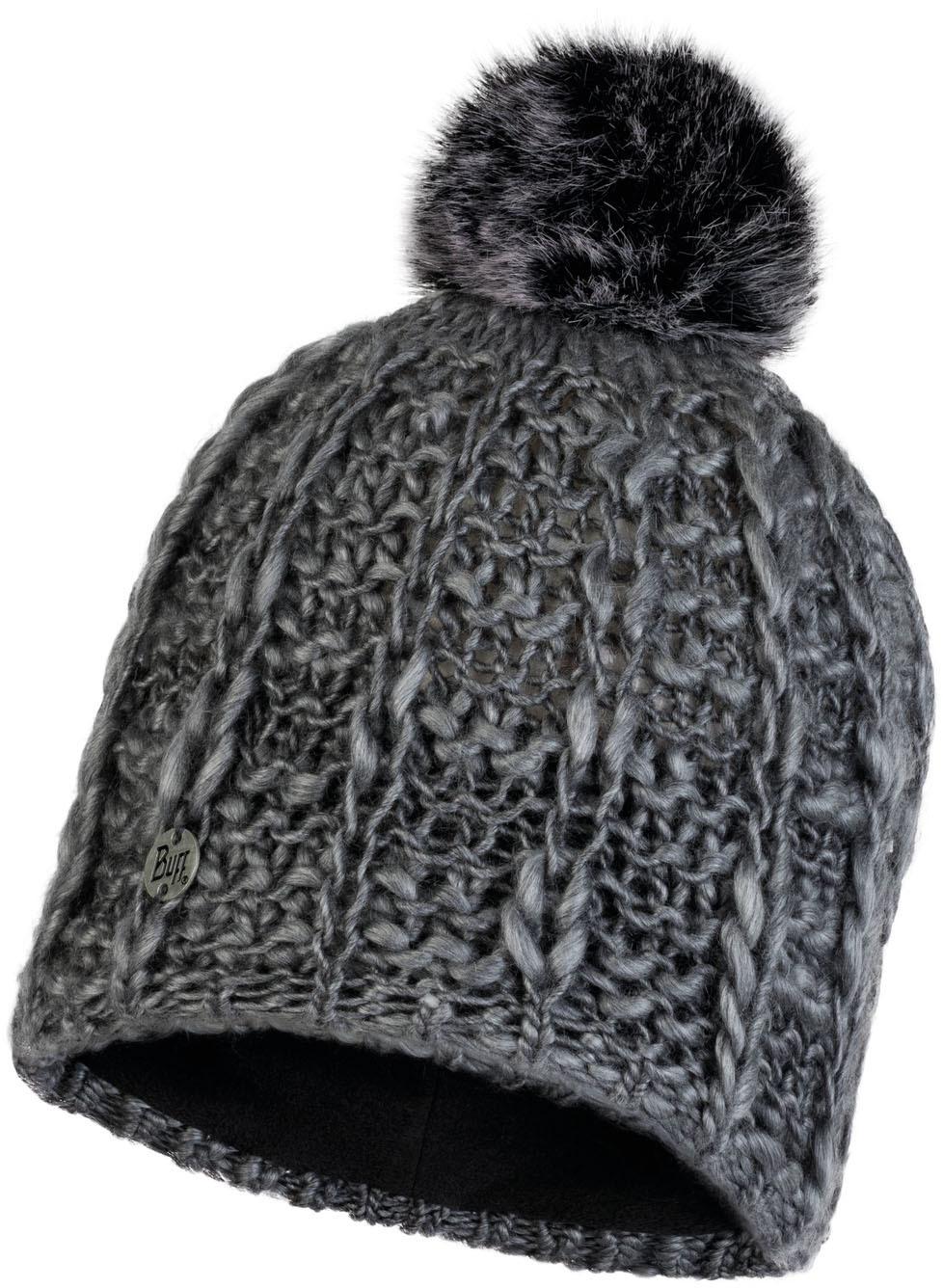 Шапки с помпоном Шапка вязаная с флисом Buff Hat Knitted Polar Liv Pebble Grey 120706.301.10.00.jpg