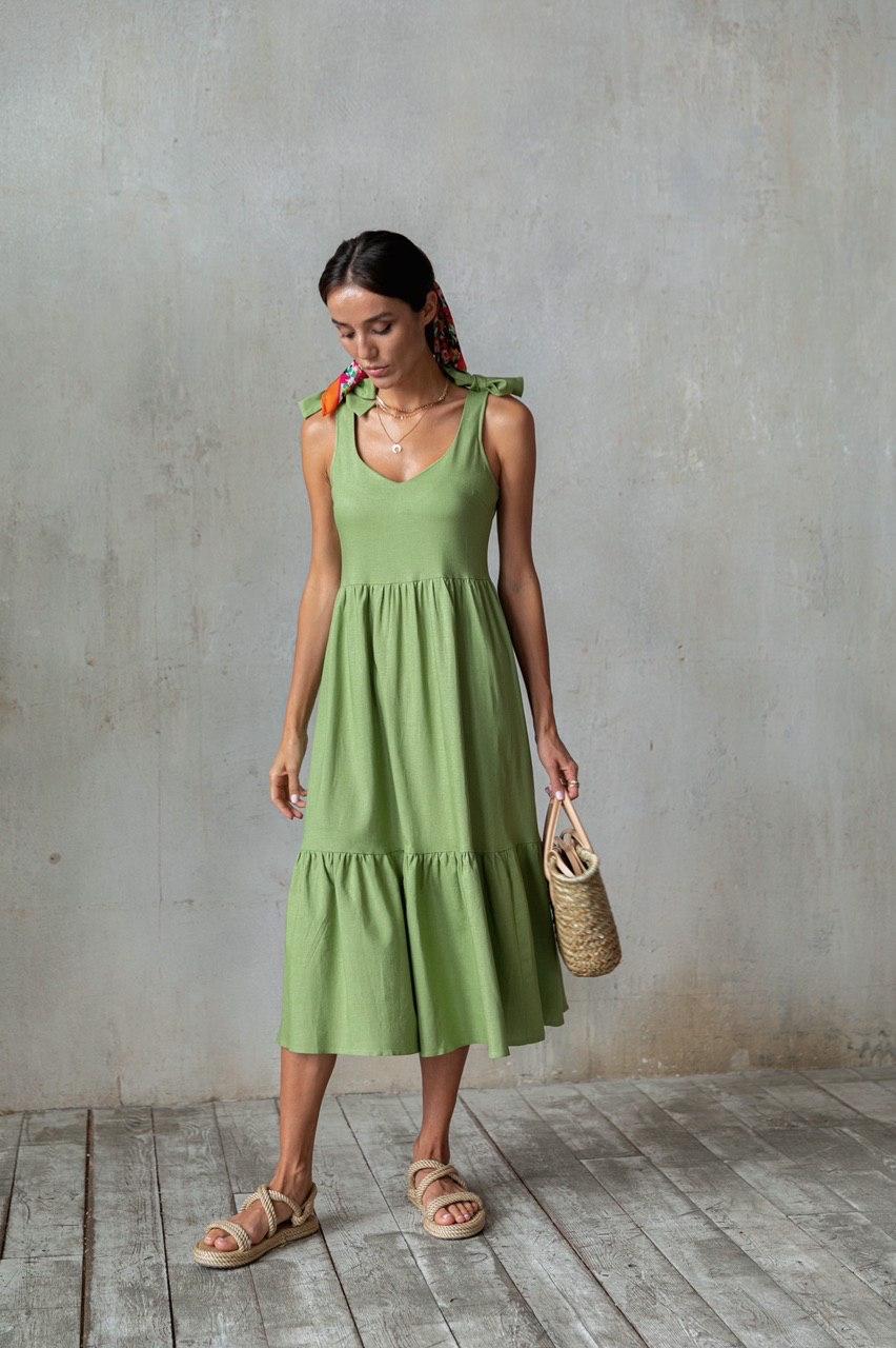 Платье миди (лен) с бантами на плечах (оливковый)