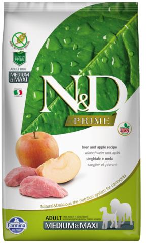 Сухой беззерновой корм Farmina N&D PRIME BOAR & APPLE ADULT MEDIUM & MAXI для взрослых собак средних и крупных пород