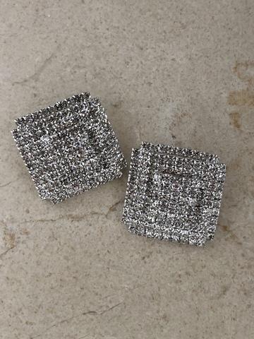 Серьги Канва с цирконами, серебряный цвет