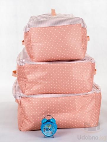 Подарочный набор из 3 сумок для хранения (розовый в горошек)