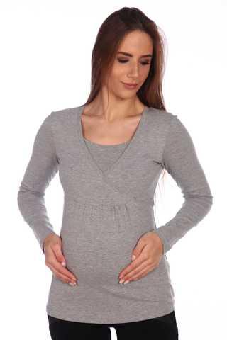 Мамаландия. Лонгслив для беременных и кормящих на запах, темно-серый меланж