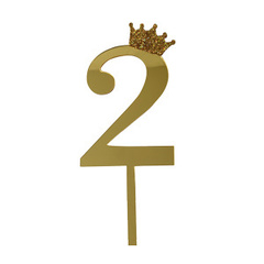 Y Топпер цифра 2 Корона GOLD 18см, 1шт.