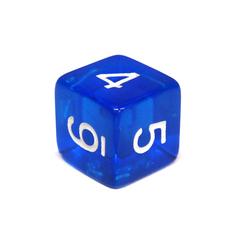 Куб D6 прозрачный: Синий 16мм с цифрами