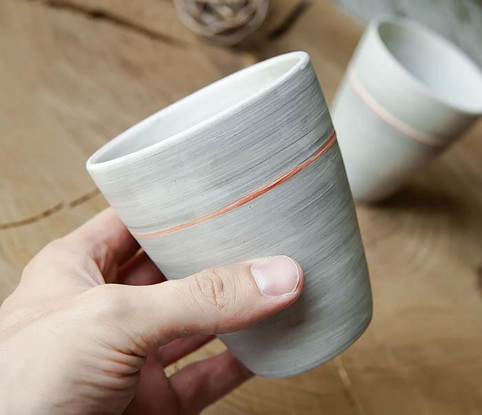 CUP107-1 Оригинальный керамический стакан ручной работы фото 08