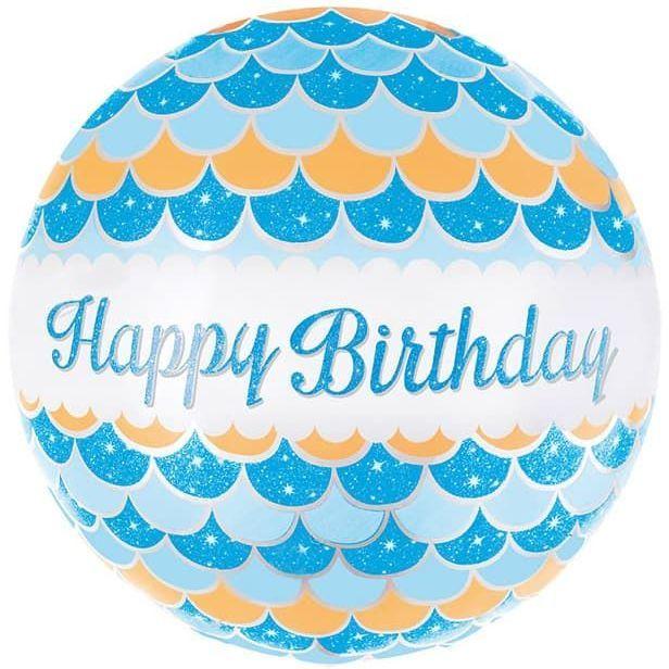 Фольгированный шар круг , с днем Рождения, волны, голубой, 46 см