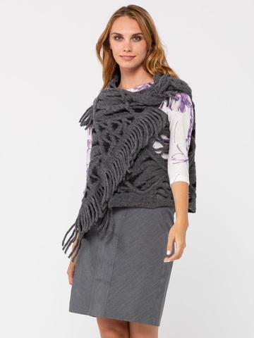 Фото серый фактурный жилет с крупной вязкой и отверстиями для рук - Жилет С044-621 (1)