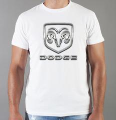Футболка с принтом Dodge (Додж) белая 004