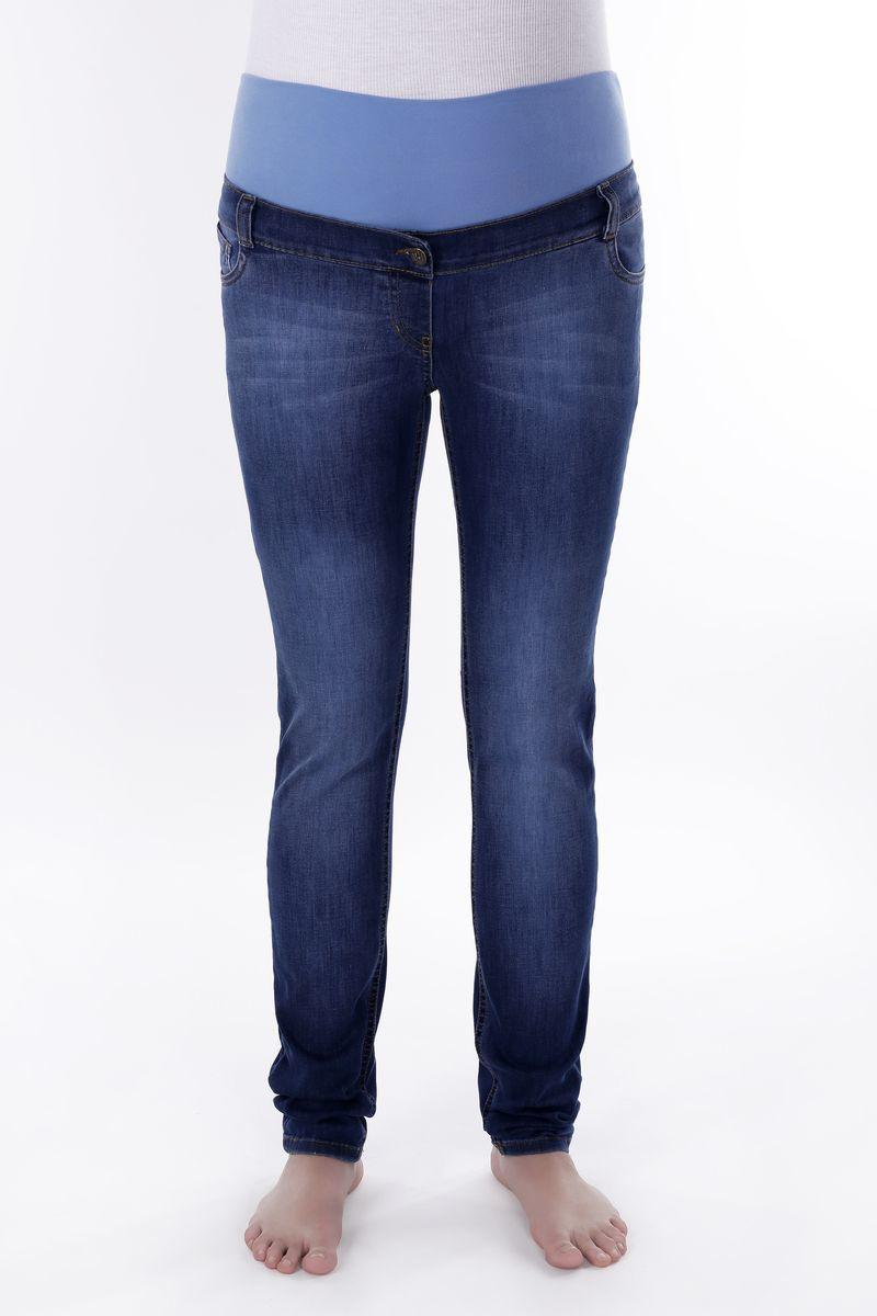 Фото джинсы для беременных MAMA`S FANTASY, зауженные, средняя посадка, высокая трикотажная вставка для животика от магазина СкороМама, синий, размеры.