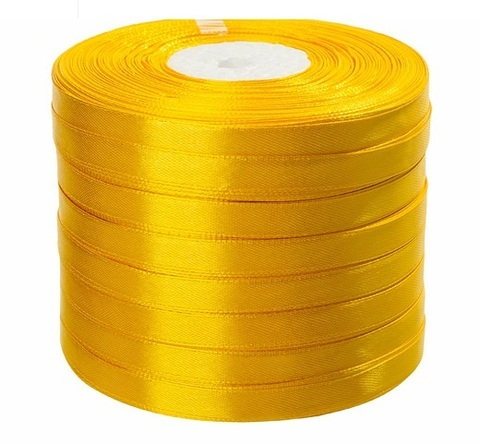 Лента атласная (размер: 10 мм х 50 ярд) Цвет: желтая