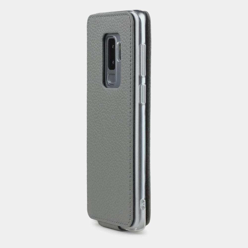 Чехол для Samsung Galaxy S9 Plus из натуральной кожи теленка, стального цвета