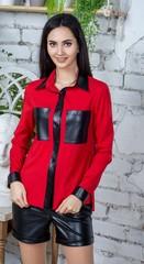 Шейла. Стильная молодежная рубашка с эко-кожей. Красный