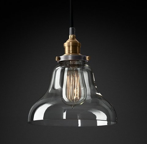 Подвесной светильник копия 20th C. Factory Filament Clear Glass Boulangerie Pendant by Restoration Hardware