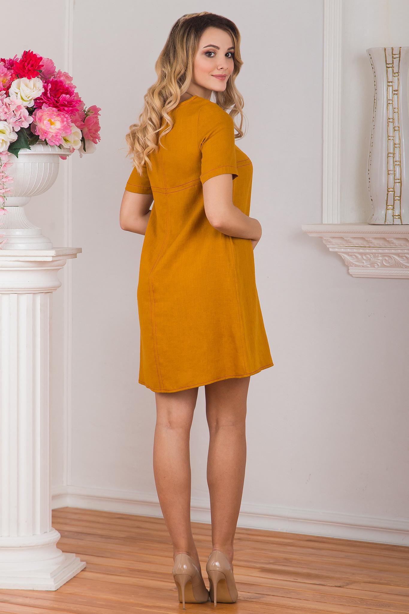 Вид сзади Платье льняное Горчица