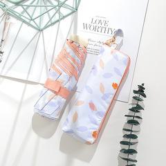 Японский миниатюрный плоский зонт с защитой от УФ, 6 спиц (принт - листочки, оранжевый/сиреневый)