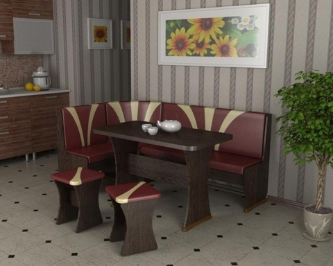 Обеденная зона угловая ТИТУЛ-2 тюльпан дуб венге / бордо-какао