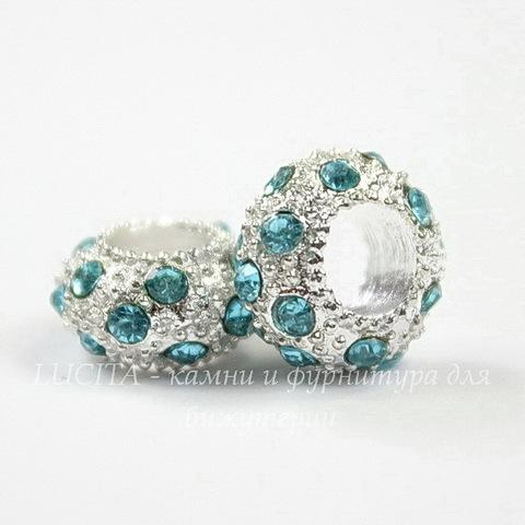 Бусина металлическая для пандоры - рондель с голубыми стразами (цвет - серебро) 11х6 мм