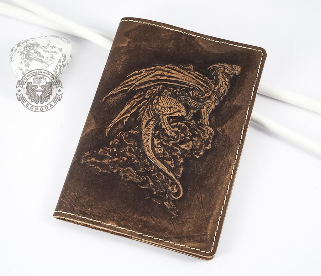 Обложка на паспорт из натуральной кожи «Дракон»