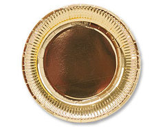 Тарелка фольгированная золотая 23 см, 6 шт.