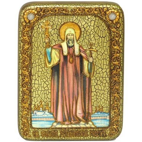 Инкрустированная икона Святитель Филипп, митрополит Московский 20х15см на натуральном дереве, в подарочной коробке
