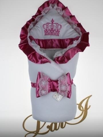 Велюровый конверт Одеяло Очарование (белый/розовый)