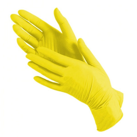 Перчатки нитрил MDC (TN382L) L-size желтого цвета 100 пар/уп
